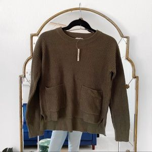 NWT Madewell green double pocket sweater